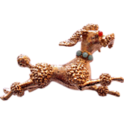 Petite Sterling Silver Running Poodle Figural Pin Brooch
