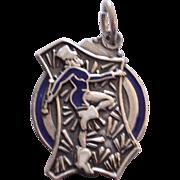 Vintage 1940's  Sterling Silver Enamel Majorette Charm Pendant