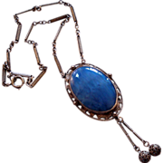 Czech Blue Satin Glass Pendant Filigree Bead Dangle Necklace