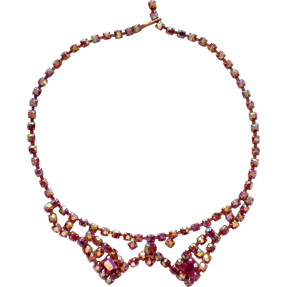 Red Aurora Borealis Rhinestone Glitz Necklace