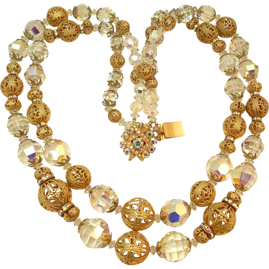 Huge Cut Crystal Filigree Bead Rondelle Necklace