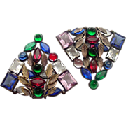 Huge Circa 1930's Czech Glass Stones Matching Dress Clips
