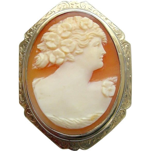 14K White Gold Carved Shell Floral Maiden Cameo Pin Brooch