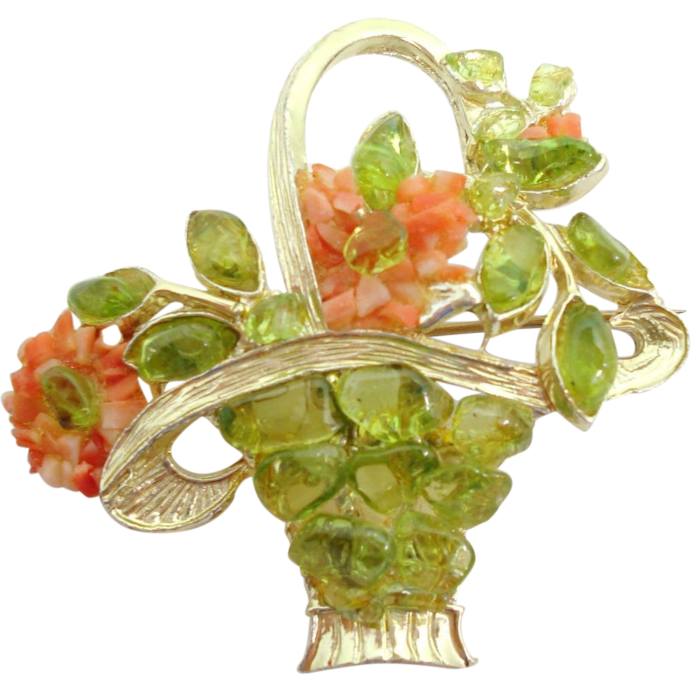 Coral & Peridot Flower Basket Pin Signed