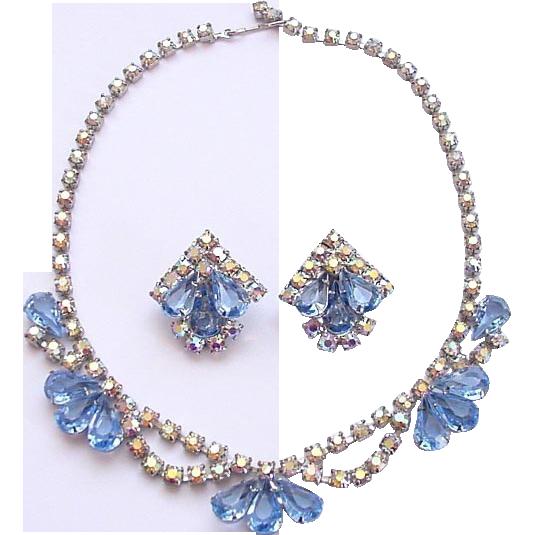 Aurora Borealis & Light Blue Rhinestone Necklace Earrings Set