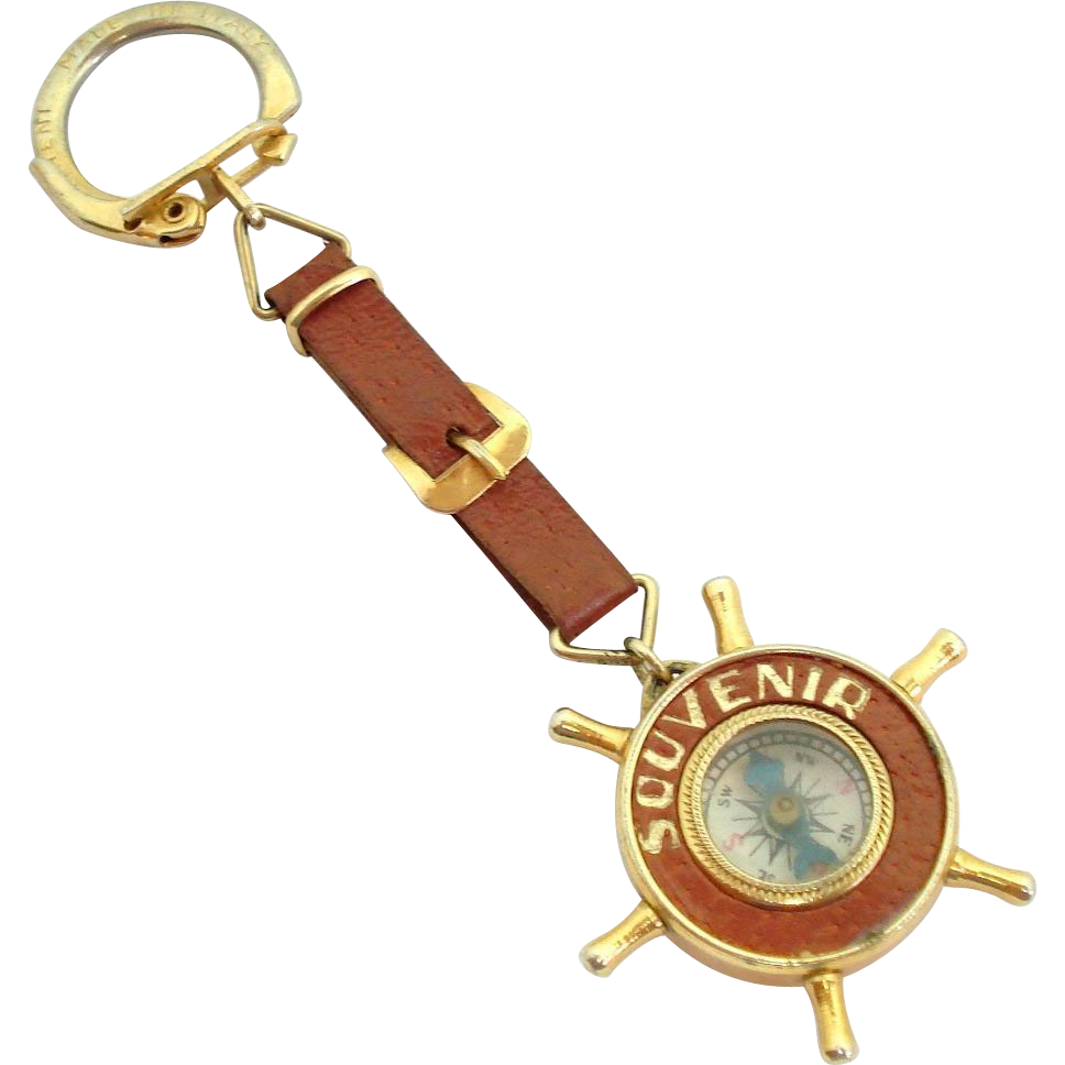 Made In Italy Washington DC Souvenir Ships Wheel Compass Fob Charm Keychain