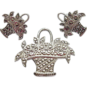 Circa 1940's Vintage Sterling Silver Marcasite Flower Basket Pin & Earrings Set