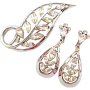 Trifari Stylized Leaf Rhinestone Pin Brooch & Dangle Earrings Set