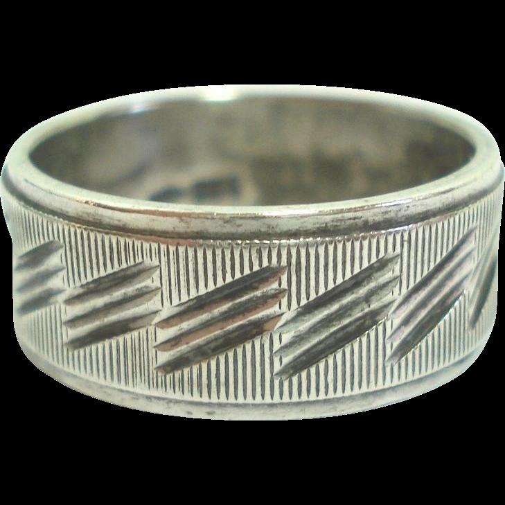 800 Silver Textured Slash Design Wedding Band Ring Size 7 1/2