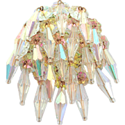 Ultra Mega Glitzy Crystal Aurora Borealis Marguerite Rivoli Flower Dangle Pin Brooch