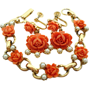 Orange Coral Colored Celluloid Roses Bracelet Screwback Dangle Earrings Set