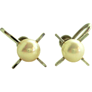Sterling Silver Cultured Pearl Starburst Screwback Earrings