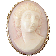 14k Gold Pale Pink Shell Cameo Pin Brooch Pendant