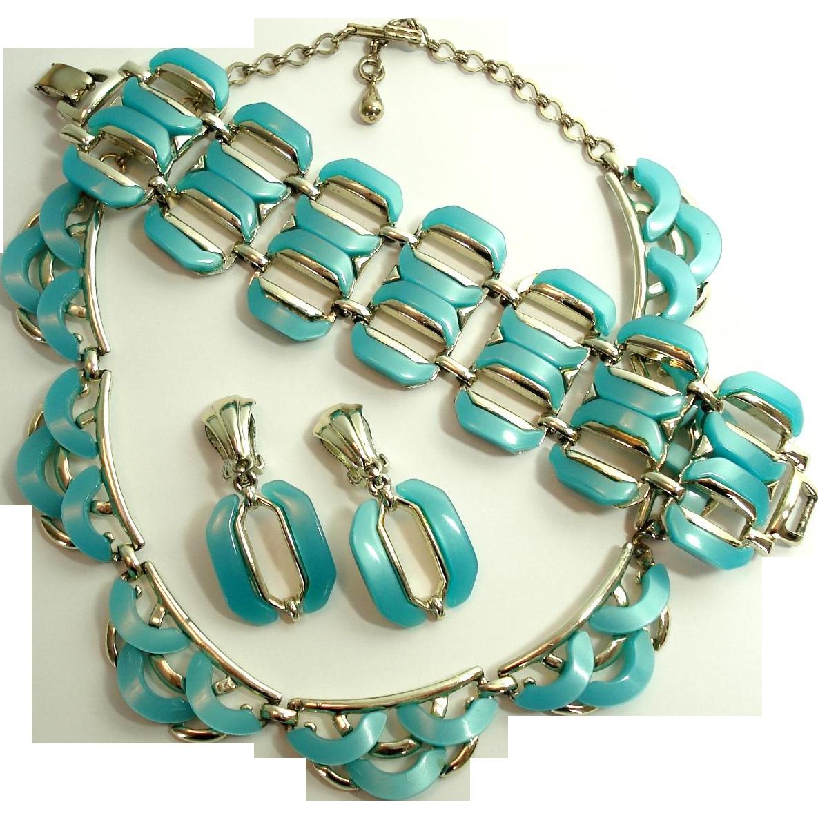 Aqua Moonglow Lucite Necklace Big Bracelet & Large Dangle Earrings Set