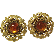 Miriam Haskell Amber Glass Cabochon Clip Earrings