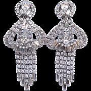 Huge Dramatic Rhinestone Glitzy Chandelier Clip Earrings