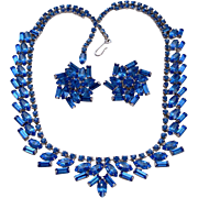 Royal Blue Fancy Baguette Rhinestone Necklace Earrings Set