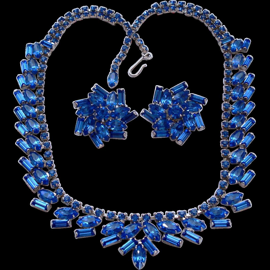 Royal Blue Fancy Baguette Rhinestone Necklace Earrings Set