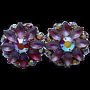 Coro Aurora Borealis Frosted Givre Rhinestone Flower Earrings