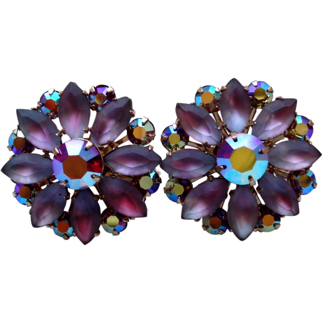 Coro Aurora Borealis Frosted Givre Rhinestone Flower Earrings