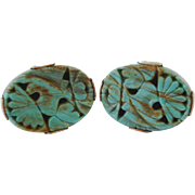 Big Bold Carved Aqua Art Glass Stones Cufflinks