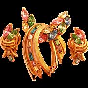 Dreamy Pastel Swag Rhinestone Pin Clip Earrings Set