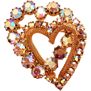 Glitzy Aurora Borealis Interlocking Heart Pin Brooch