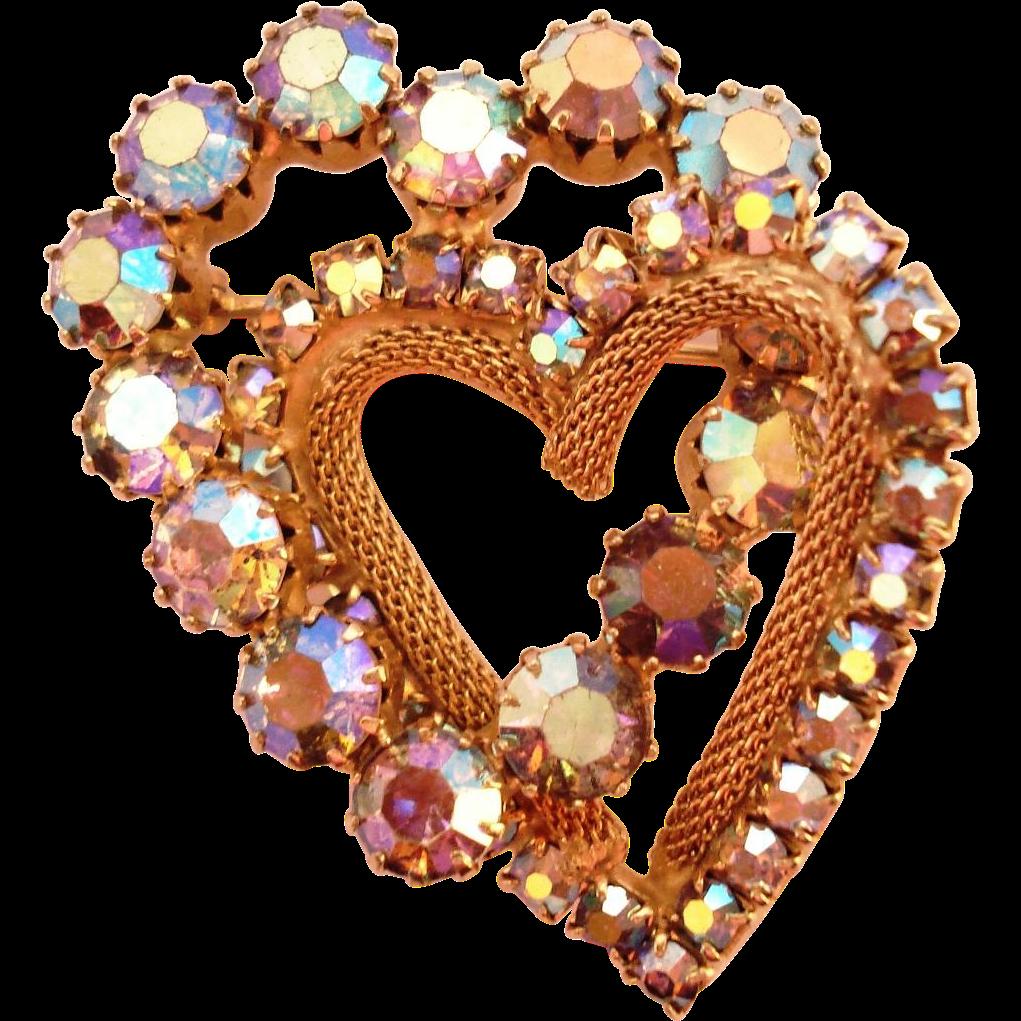 Glitzy Aurora Borealis Interlocking Heart Pin Brooch