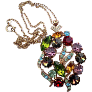 Colorful Rhinestone Rivoli Pendant Pin Brooch