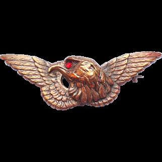 Antique Victorian Era Gilt Brass Eagle Figural Watch Pin