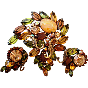 Gorgeous Olivine Rootbeer Art Glass Brooch Pin Earrings Set