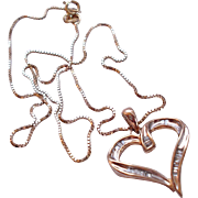 10K Gold Baguette Diamond Heart Pendant On 14k Chain
