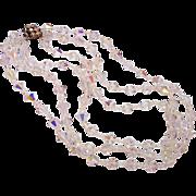 Aurora Borealis Bicone Crystal Triple Strand Bead Necklace Fancy Clasp