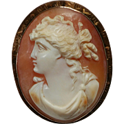 Antique Victorian Era Ornate Engraved Frame 14K Gold Carved Shell Cameo Pin Brooch Pendant