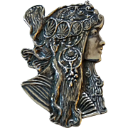 Vintage Sterling Silver  Alphonse Mucha Style Lady Brooch Pin