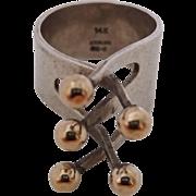 Vintage Sterling Silver 14k Gold Modernist Ladies Ring Size 7