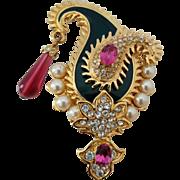 Vintage KJL Maharani Paisley Enamel Rhinestone Faux Pearl Pin Brooch Kenneth Jay Lane