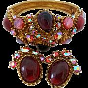 Vintage Rhinestone Art Opal Glass Cabochon Hinged Bangle Clip Earrings Set