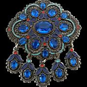 Huge Vintage 1940's Pot Metal Enamel Blue Glass Rhinestone Dangle Pin Brooch