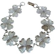 Vintage Beau Sterling Silver Dogwood Flower Link Bracelet