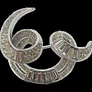 Vintage Trifari Baguette Rhinestone Free Form Brooch Pin