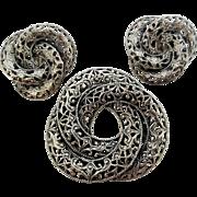 Vintage Jewel Art Sterling Silver Filigree Circles Pin Earrings Set