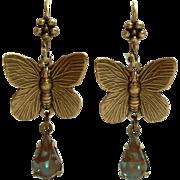 Artisan Butterfly Figural Dangle Leverback Earrings Using Vintage German Saphiret Glass