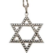 Vintage 1950's Rhodium Plated Sterling Silver Marcasite Star Of David Pendant Necklace