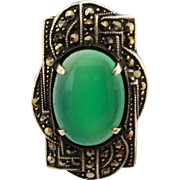 True Art Deco Era Sterling Silver Marcasite Chrysoprase Ladies Ring 5 1/2