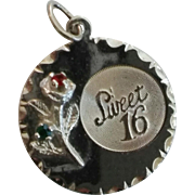 Sterling Silver Sweet Sixteen Rose Charm
