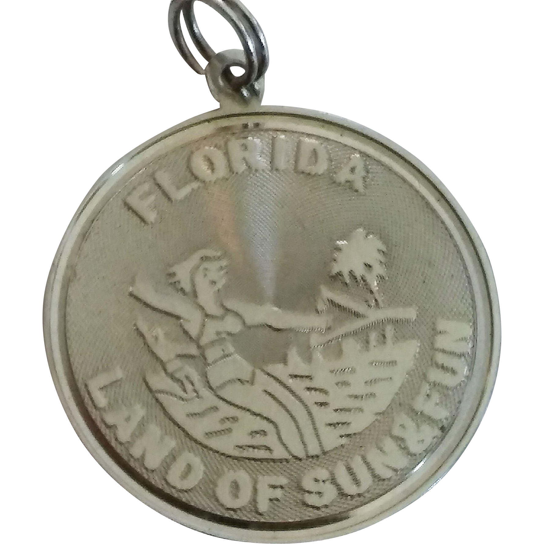 vintage sterling silver Florida land of fun and sun charm