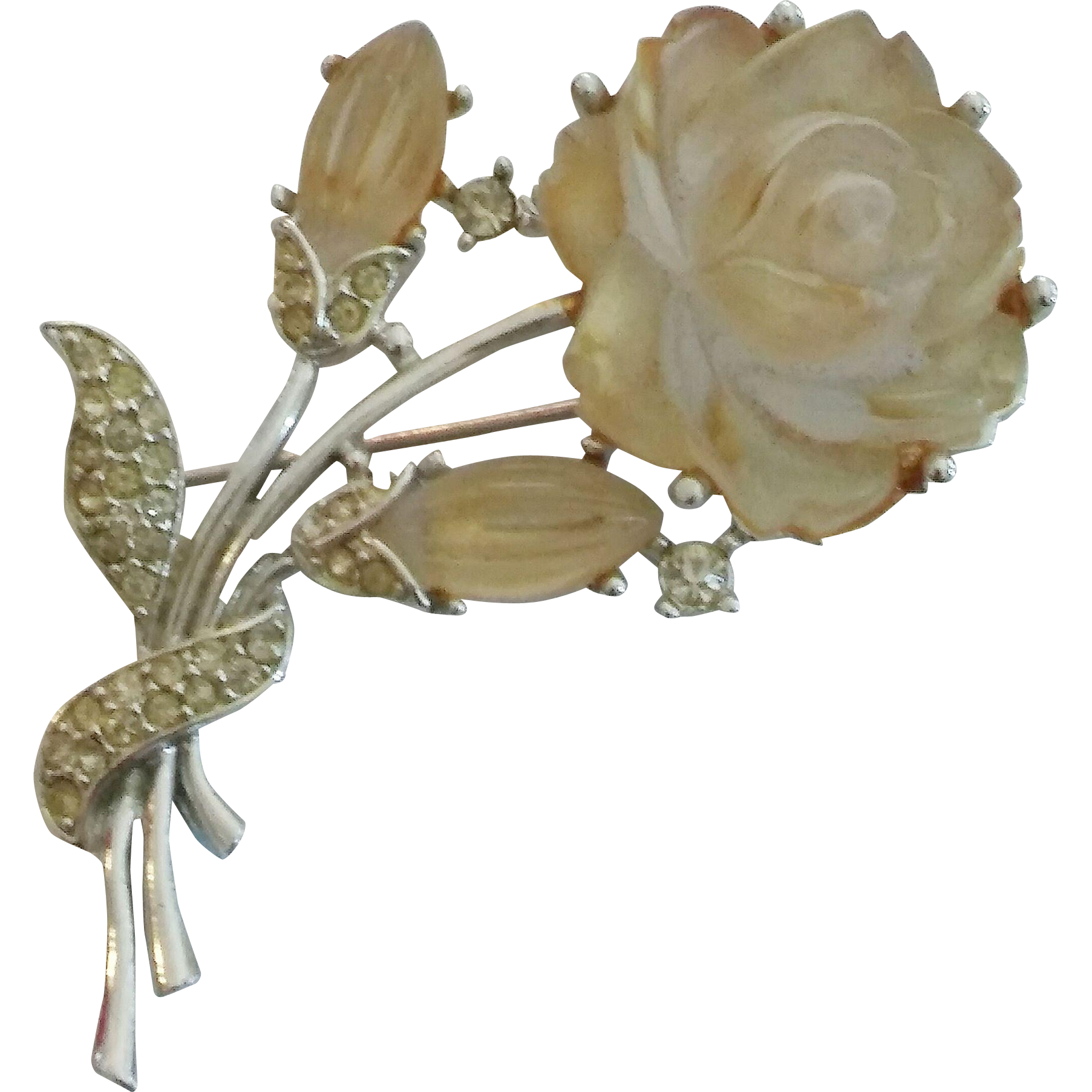 Marboux frosted lucite rhinestone Rose pin