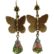 German Sugared Rainbow Art Glass Butterfly Flower Top Leverback Dangle Earrings