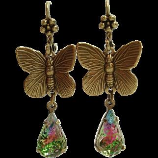 German Sugared Rainbow Art Glass Butterfly Flower Top Leverback Dangle Earrings